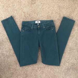 Paige Skyline Skinny teal colored jeans size 26